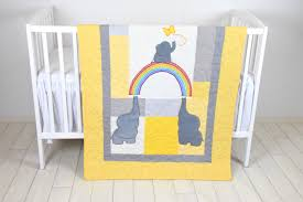 Yellow And Gray Crib Bedding by Yellow Gray Baby Blanket Elephant And Rainbow Crib Quilt Boy