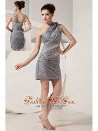 beautiful grey column one shoulder short prom dress mini length