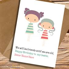 write name on cute birthday card for sister picture wishes