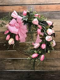 beautiful pink tulip wreath for your front door tulip wreath