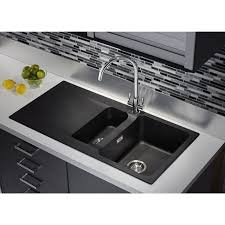 Black Glass Kitchen Sinks Tectonite Carbon Black Bowl 1 2 Kitchen Sink With Regard To