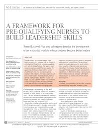 a framework for pre qualifying nurses to build leadership skills