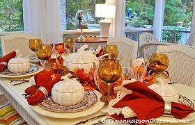 autumn fall table setting with spode woodland pumpkin tureens