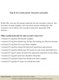 executive resume formats and exles top 8 mis executive resume sles 1 638 jpg cb 1428674497