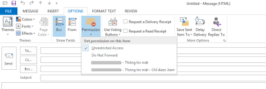 office 365 irm templates in outlook appear in vietnamese although