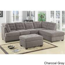 Sectional With Ottoman Odessa Waffle Suede Reversible Sectional Sofa With Ottoman