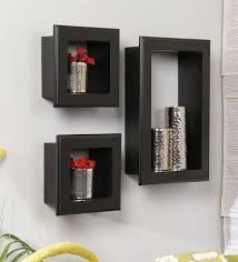 buy black mango wood wall shelves with frames set of 3 by home