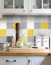 kitchen backsplash decals tuiles autocollants jaune gris tuiles par homeartstickers sur etsy