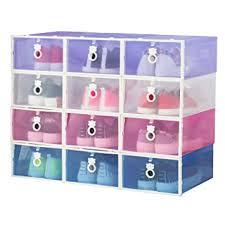amazon shoe storage cabinet amazon com smilun clear stacking closet storage box clear foldable