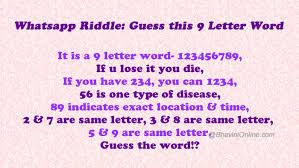 whatsapp riddle guess this 9 letter word bhavinionline com