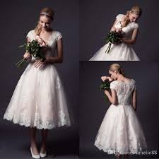 tea length wedding gowns discount lace plus size tea length wedding dresses with cap