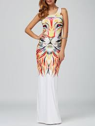 lion print u neck lion print sleeveless maxi animal print dress colormix m
