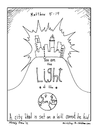 matt 5 14 coloring page light the world u0026 city on a hill coloring