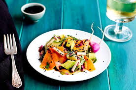 sesame ribbon veggie ribbon salad with sesame tangerine vinaigrette
