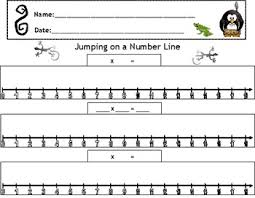 number line jumps with multiplication worksheet by lane barnhill