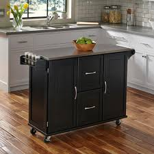black kitchen island with stainless steel top home styles patriot black kitchen cart 4515 95 the home depot