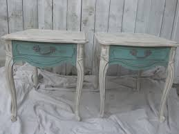 Vintage Thomasville Bedroom Furniture Shabby Chic End Tables Vintage Thomasville White Teal Distressed