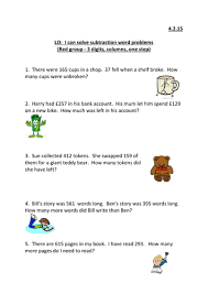 column subtraction word problems ks2 by emmastead teaching