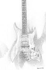 electric guitar sketch digital art by georgianne giese