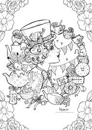 colouring page mad hatter alice in wonderland