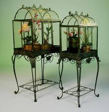 pair large victorian glass greenhouse terrariums terrarium