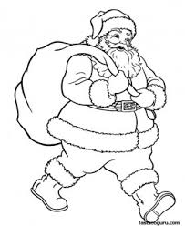 santa claus christmas gifts bage coloring pages printable