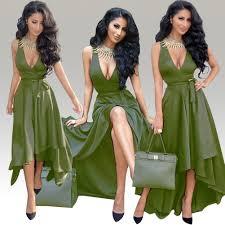 deep v neck irregular short in front long evening dresses