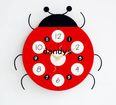 wooden ladybug wall clock for baby room art wall clock for bed rom