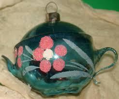 vintage blown glass christmas tea pot ornaments icicles