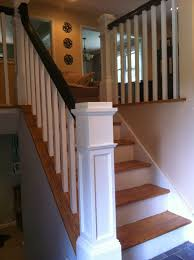 Banister Handrail Wood Stairs And Rails And Iron Balusters New Box Newels And