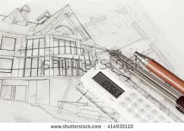 blueprints house blue theme architectural workplace top view stock illustration