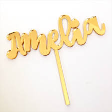 name cake topper custom gold mirror name cake topper apooki madeit au