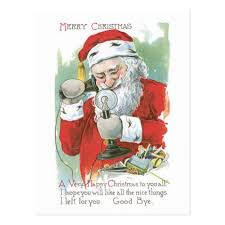 fashioned santa postcard merry postcards
