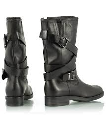 buckle biker boots fratelli karida black leather loose fit buckle strap biker boots