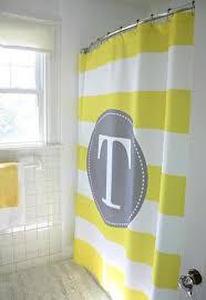 Yellow And White Shower Curtain Monogram Shower Curtain Yellow White Stripe Grey Kk S