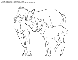 mustang mare and foal lineart by unicornarama on deviantart