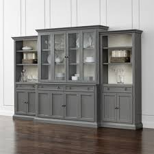 Crate And Barrel Sideboard Cameo 4 Piece Modular Grey Glass Door Wall Unit Media Console