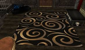 Rugs Black Second Life Marketplace Black And Gold Swirl Rug