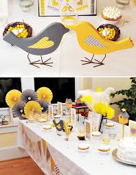 yellow and gray baby shower yellow gray bird themed baby shower themed baby showers and babies