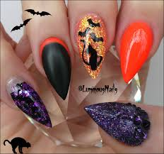 black cats u0026 black bats halloween acrylic nails luminous