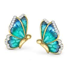 earrings images flutter blue butterfly stud earrings jewellery india online