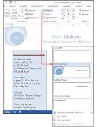 Resume Footer Word Resume Tips Using Style Sheets Shapes And Text Boxes For A