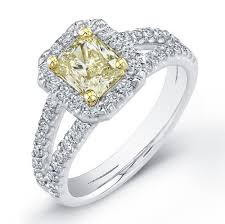 canary yellow engagement rings 1 42 ct fancy yellow canary radiant cut halo