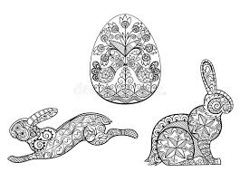 coloring pages symbols easter egg hare rabbit stock vector