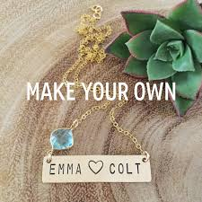 Make Your Own Name Necklace Custom Two Word Heart Stamped Gold Fill Necklace Gift Customizable