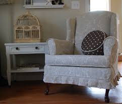Wing Chair Slipcover Pattern Furniture Excellent Pattern Cream Wingback Chair Covers With Side