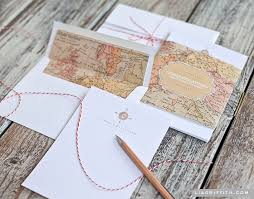 personalized stationery sets printable vintage map stationery