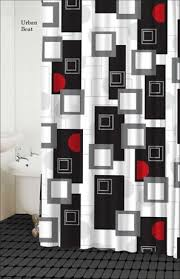 Red White Shower Curtain White Gray And Black Curtains Asian Lily Shower Curtain Asian