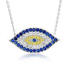silver eye necklace images 925 sterling silver cz sapphire evil eye necklace 16 inch jpg