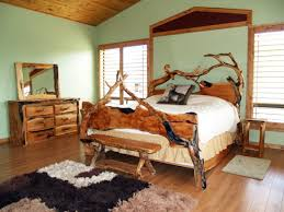 rustic bedroom design ideas light brown oak wood bed frame white